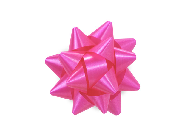 "Beauty Pink 2.5"" Self Adhesive Star Gift Bows, 48 Pack"