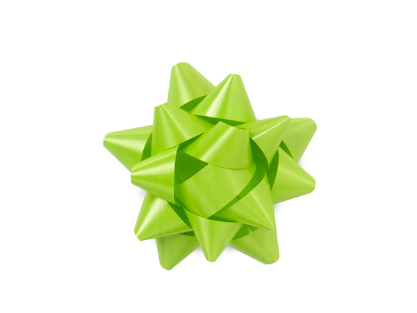 "2-1/2"" Citrus Green Self Adhesive Star Gift Bows, 48 Pack"