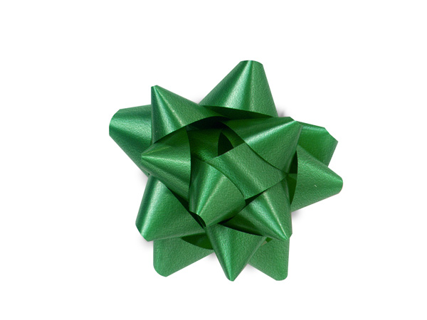 "2-1/2"" Emerald Green Self Adhesive Star Gift Bows, 48 Pack"
