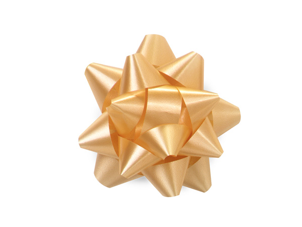 "2-1/2"" Gold Self Adhesive Star Gift Bows, 48 Pack"