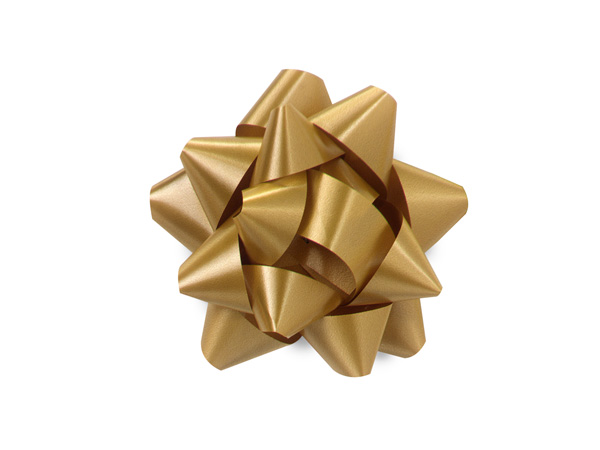 "Holiday Gold 2.5"" Self Adhesive Star Gift Bows, 48 Pack"