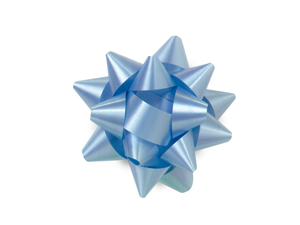 "2-1/2"" Light Blue Self Adhesive Star Gift Bows, 48 Pack"