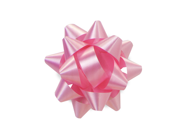 "2-1/2"" Paris Pink Self Adhesive Star Gift Bows, 48 Pack"