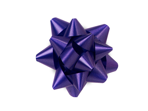 "2-1/2"" Purple Self Adhesive Star Gift Bows, 48 Pack"