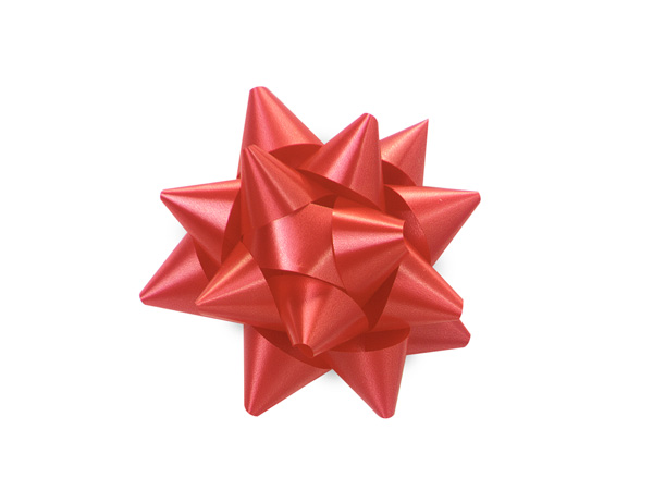 "2-1/2"" Red Self Adhesive Star Gift Bows, 48 Pack"