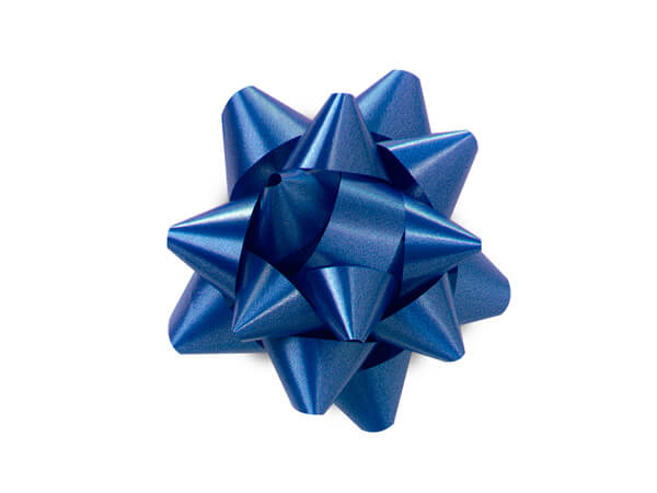 "2-1/2"" Royal Blue Self Adhesive Star Gift Bows, 48 Pack"
