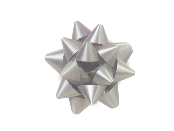 "2-1/2"" Silver Self Adhesive Star Gift Bows, 48 Pack"