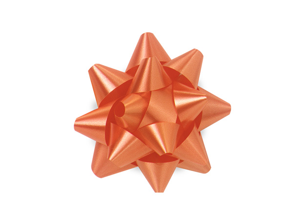 "2-1/2"" Tropical Orange Self Adhesive Star Gift Bows, 48 Pack"
