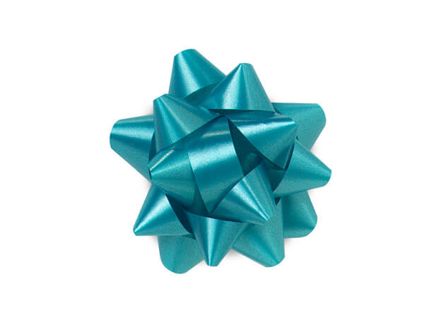 "2-1/2"" Turquoise Blue Self Adhesive Star Gift Bows, 48 Pack"