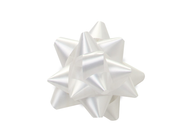 "White 2.5"" Self Adhesive Star Gift Bows, 48 Pack"