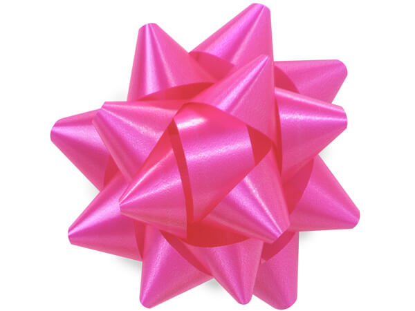 "3-1/2"" Pink Beauty Self Adhesive Star Gift Bows, 48 Pack"