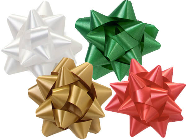 """Christmas 3-1/2"""" Self Adhesive Star Bow Assortment, 48 Pack"""