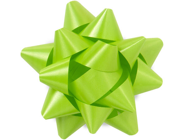 "3-1/2"" Citrus Green Self Adhesive Star Gift Bows, 48 Pack"