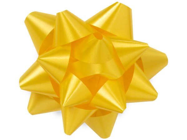 "3-1/2"" Yellow Daffodil Self Adhesive Star Gift Bows, 48 Pack"