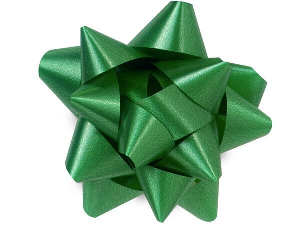 "3-1/2"" Emerald Green Self Adhesive Star Gift Bows, 48 Pack"