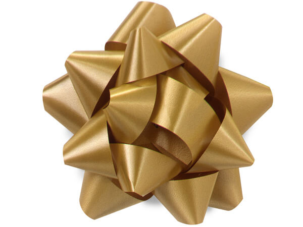 "3-1/2"" Holiday Gold Self Adhesive Star Gift Bows, 48 Pack"