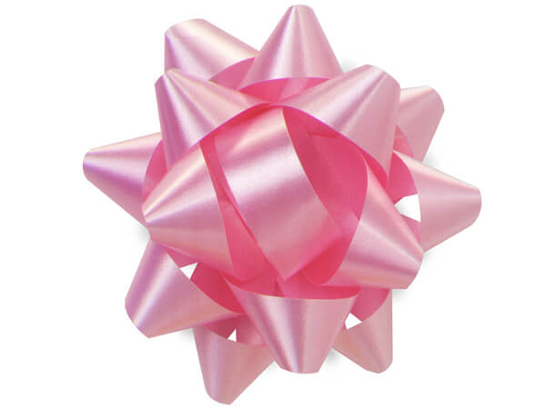 "3-1/2"" Paris Pink Self Adhesive Star Gift Bows, 48 Pack"