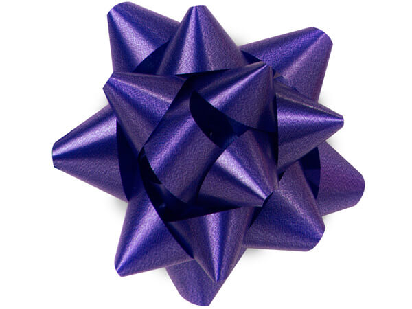 "3-1/2"" Purple Self Adhesive Star Gift Bows, 48 Pack"