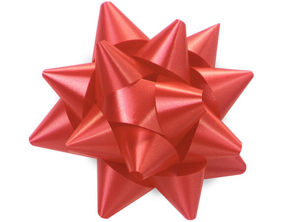 "3-1/2"" Red Self Adhesive Star Gift Bows, 48 Pack"