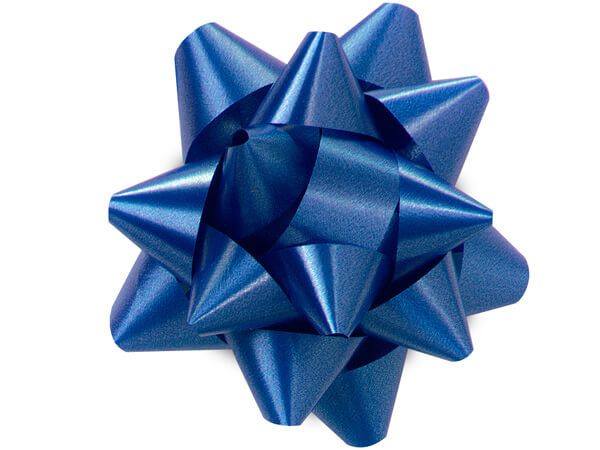 "3-1/2"" Royal Blue Self Adhesive Star Gift Bows, 48 Pack"