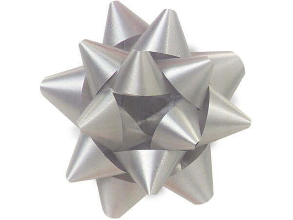 "3-1/2"" Silver Self Adhesive Star Gift Bows, 48 Pack"