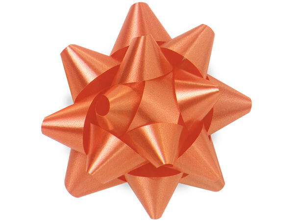 "3-1/2"" Tropical Orange Self Adhesive Star Gift Bows, 48 Pack"