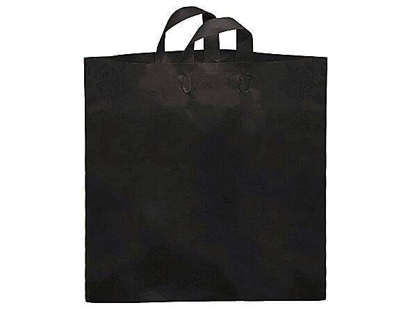 "Black Colossal Reusable Plastic Bag 22x18x8"", 200 pack, 2.25 mil"