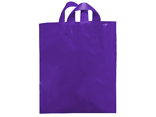 "Purple Mezzo Reusable Plastic Bags, 16x15x6"", 250 pack, 2.25 mil"