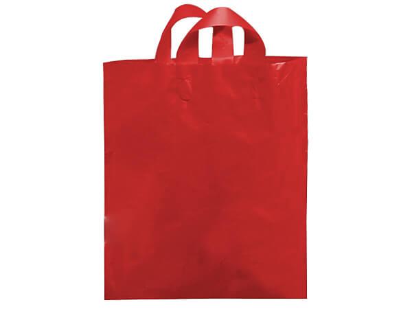 "Red Mezzo Reusable Plastic Bags, 16x15x6"", 250 pack, 2.25 mil"