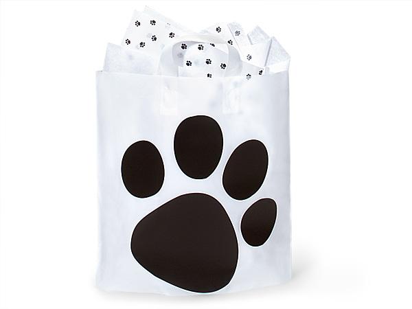 "Mezzo Paw Print Studio Bags Frosted Plastic Bags 16x15x6"""