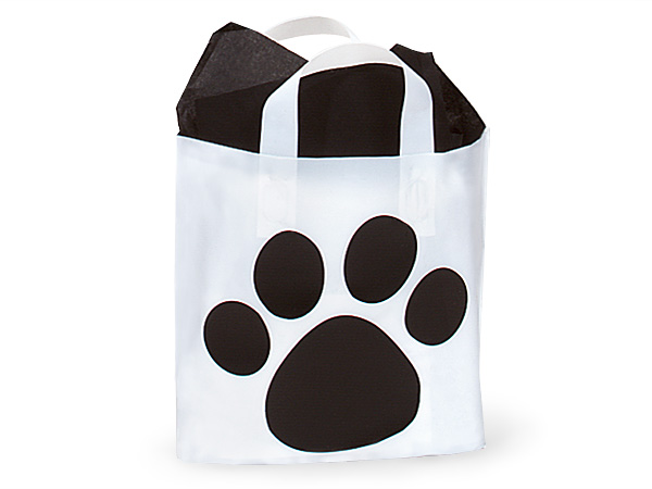 Piccolo Paw Print Studio Bags Frosted Plastic Bags 12x10x4""