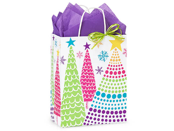 "Bright Trees Paper Shopping Bags, Cub 8.25x4.75x10.5"", 250 Pack"