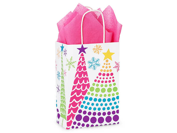 """Bright Trees Paper Shopping Bags, Rose 5.25x3.5x8.25"""", 250 Pack"""