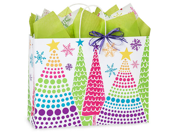 """Bright Trees Paper Shopping Bags, Vogue 16x6x12.5"""", 25 Pack"""
