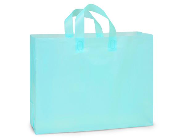 "Aqua Blue Plastic Gift Bags, Vogue 16x5x12"", 100 Pack"