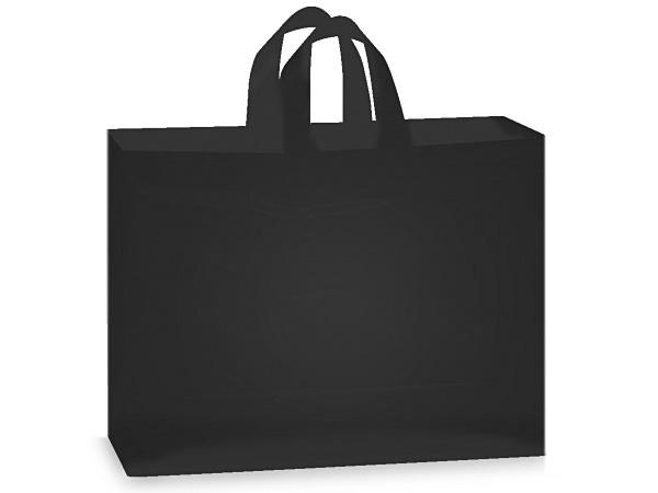 "Black Plastic Gift Bags, Vogue 16x5x12"", 100 Pack, 3 mil"