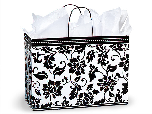 "Vogue Floral Brocade Paper Bags 250 16x6x12-1/2"""