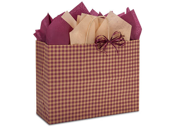 "Burgundy Gingham Paper Shopping Bags, Vogue 16x6x12"", 250 Pack"