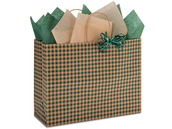 "Hunter Gingham Paper Shopping Bags, Vogue 16x6x12"", 250 Pack"