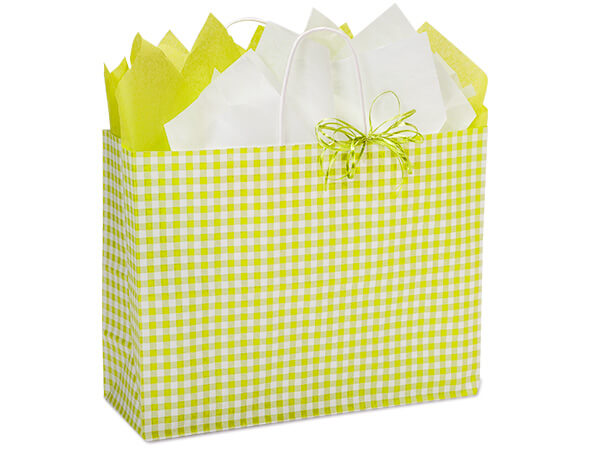 "Apple Green Gingham Paper Shopping Bags, Vogue 16x6x12"", 250 Pack"