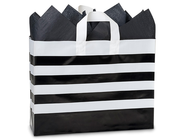 "Black Stripe Plastic Gift Bags, Vogue 16x5x12"", 100 Pack"