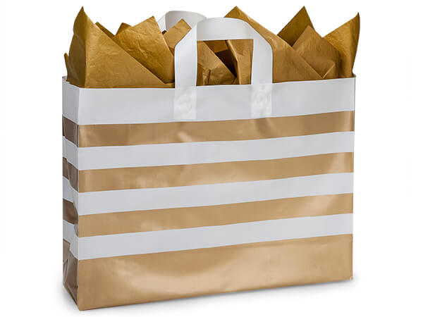 "Metallic Gold Stripe Plastic Gift Bags, Vogue 16x5x12"", 100 Pack"