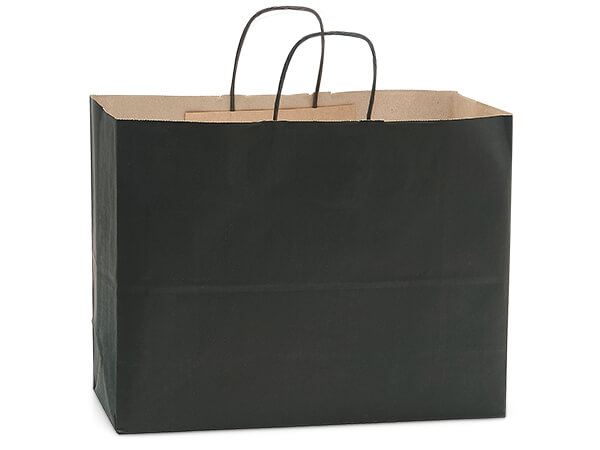 "Black Recycled Kraft Bags Vogue 16x6x13"", 250 Pack"