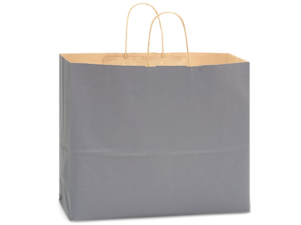 "Charcoal Gray Recycled Kraft Bags Vogue 16x6x13"", 250 Pack"