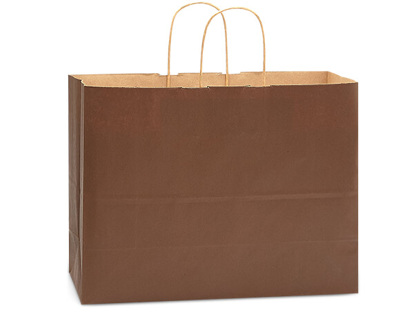 "Chocolate Brown Recycled Kraft Bags Vogue 16x6x13"", 250 Pack"