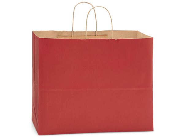 Vogue Christmas Red Kraft Bags 250 Pk 16x6x13""
