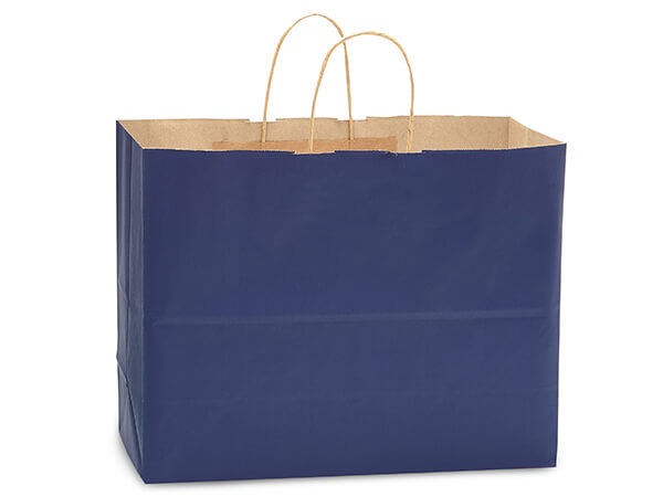"Dark Blue Recycled Kraft Bags Vogue 16x6x13"", 250 Pack"