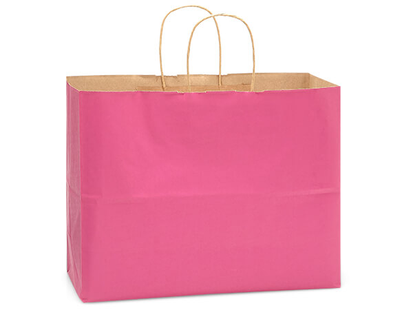 "Lipstick Pink Recycled Kraft Bags Vogue 16x6x13"", 250 Pack"