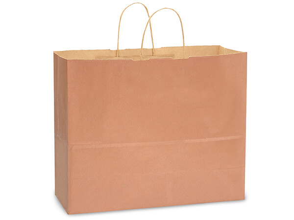 "Metallic Copper Recycled Kraft Bags Vogue 16x6x13"", 250 Pack"