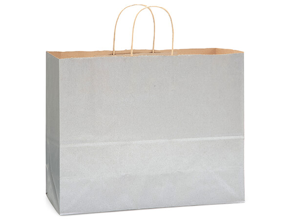 "Metallic Silver Recycled Kraft Bags Vogue 16x6x13"", 250 Pack"